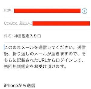 神言鑑定メール送信画面